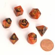 Blackfire Dice - Fairy Dice RPG Set - BiColor Black Orange (7 Dice)