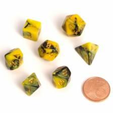 Blackfire Dice - Fairy Dice RPG Set - BiColor Yellow Black (7 Dice)