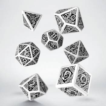 Celtic 3D Revised White & black Dice Set (7)