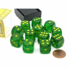 16mm d6 Dice Block: Borealis Maple Green/yellow