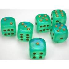 Chessex Borealis 16mm d6 Light Green/gold Luminary Dice Block (12 dice)