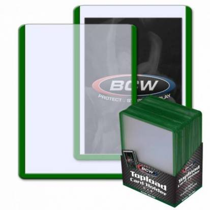 BCW - TOPLOAD HOLDER - 3 X 4 - GREEN BORDER (25)