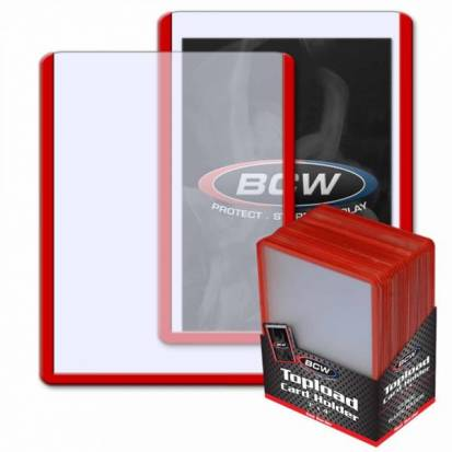 BCW - TOPLOAD HOLDER - 3 X 4 - RED BORDER
